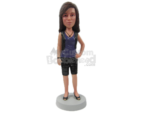 Custom Bobblehead Trendy Girl In Shorts And Stylish Necklace - Leisure & Casual Casual Females Personalized Bobblehead & Cake Topper