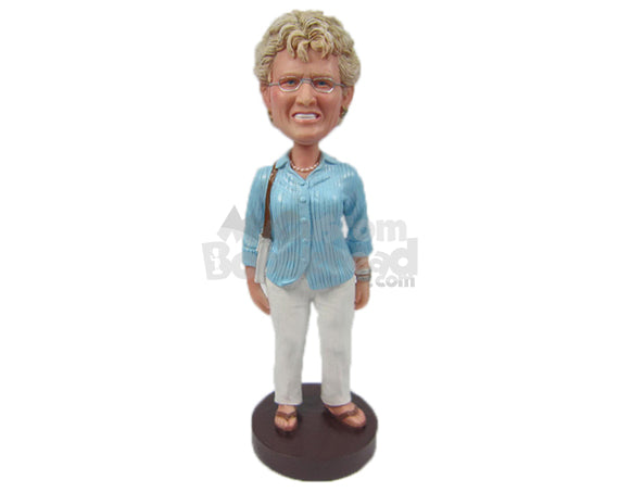 Custom Bobblehead Lovely Lady In Comfortable Outfit With Handbag And Stylish Nechlace - Leisure & Casual Casual Females Personalized Bobblehead & Cake Topper