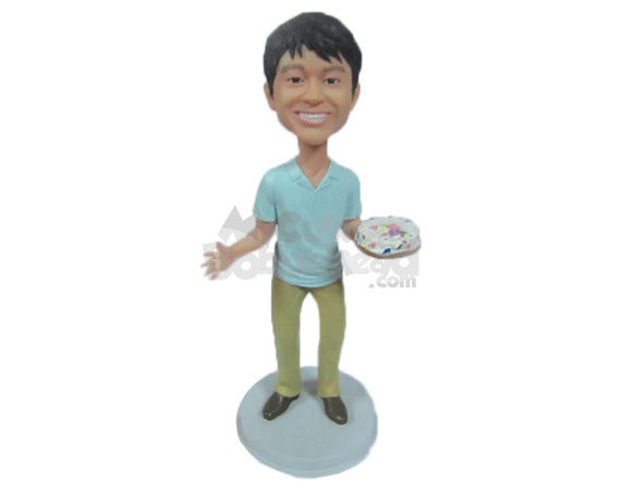 Custom Bobblehead Happy Cute Boy With A Cake - Leisure & Casual Casual Males Personalized Bobblehead & Cake Topper