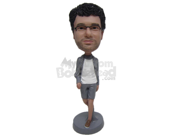 Custom Bobblehead Cool Dude Chilling Out In Shorts - Leisure & Casual Casual Males Personalized Bobblehead & Cake Topper