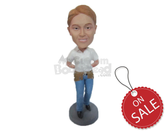 Custom Bobblehead Handsome Dude In Classic Pair Of Jeans With Hands Clenched At Back - Leisure & Casual Casual Males Personalized Bobblehead & Cake Topper