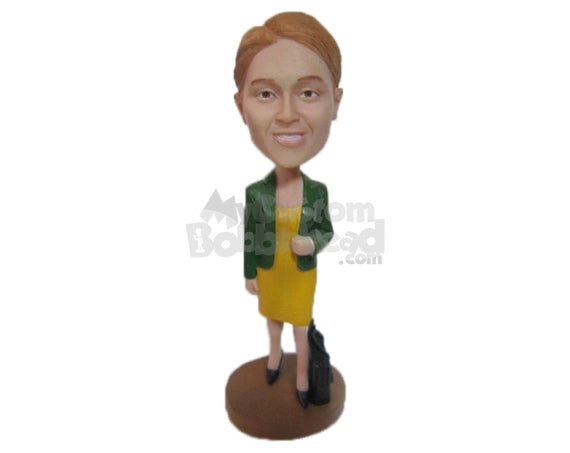 Custom Bobblehead Bold Woman In One Piece Attire With A Trendy Jacket And A Carry Abg - Leisure & Casual Casual Females Personalized Bobblehead & Cake Topper