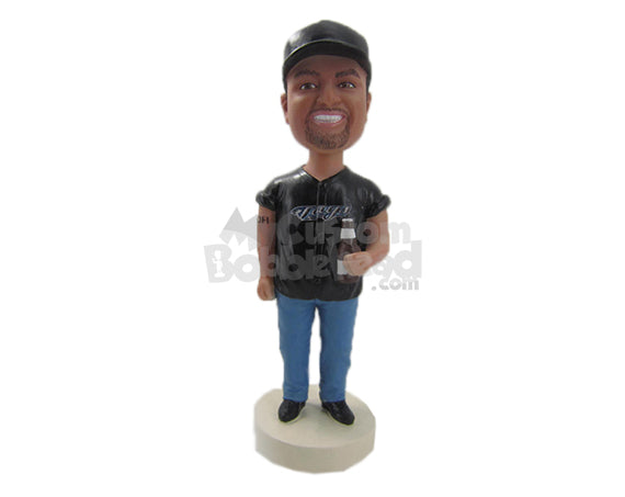 Custom Bobblehead Cool Dude Chilling Out With A Beer - Leisure & Casual Casual Males Personalized Bobblehead & Cake Topper