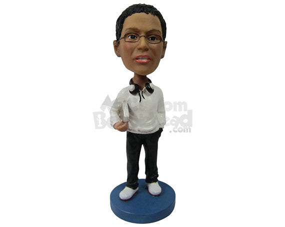 Custom Bobblehead Male In Semi-Formal Look With Headphones And Book In Hand - Leisure & Casual Casual Males Personalized Bobblehead & Cake Topper