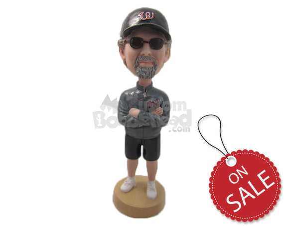 Custom Bobblehead Handsome Dude In Shorts With Hands Folded - Leisure & Casual Casual Males Personalized Bobblehead & Cake Topper