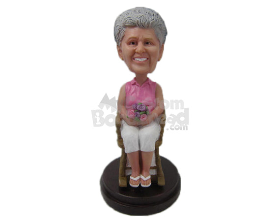 Custom Bobblehead Lovely Lady Sitting With Flowers In Hand - Leisure & Casual Casual Females Personalized Bobblehead & Cake Topper