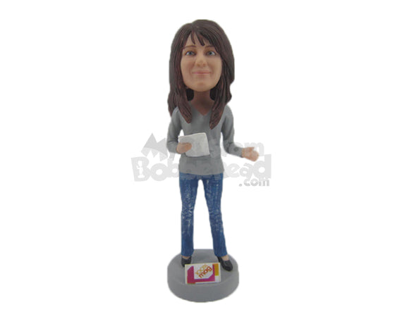 Custom Bobblehead Gorgeous Girl N Trendy Outfit With A Paper In Hand - Leisure & Casual Casual Females Personalized Bobblehead & Cake Topper