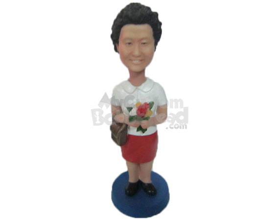 Custom Bobblehead Charming Lady With Purse And Flower In Hand - Leisure & Casual Casual Females Personalized Bobblehead & Cake Topper