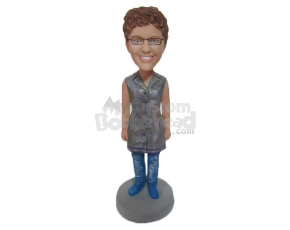 Custom Bobblehead Cute Girl In Trendy Sleeveless Outfit - Leisure & Casual Casual Females Personalized Bobblehead & Cake Topper