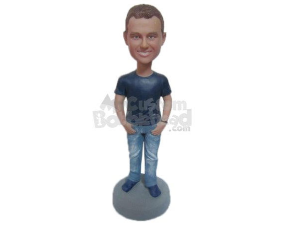 Custom Bobblehead Handsome Muscular Male In Latest Casual Outfit With Hands In Pocket - Leisure & Casual Casual Males Personalized Bobblehead & Cake Topper