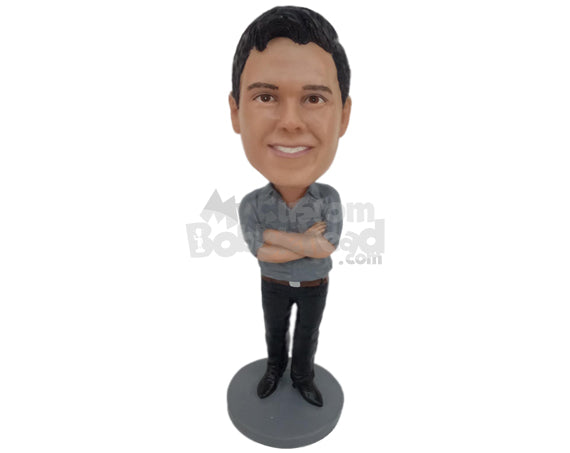Custom Bobblehead Super Cool Dude In Shirt And Slacks - Leisure & Casual Casual Males Personalized Bobblehead & Cake Topper