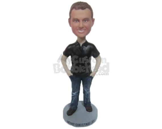 Custom Bobblehead Handsome Male Blushing With Hands In Pocket - Leisure & Casual Casual Males Personalized Bobblehead & Cake Topper