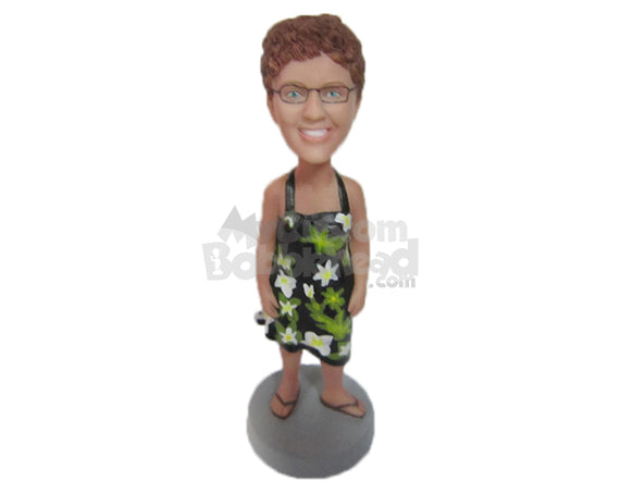 Custom Bobblehead Charming Lady In One Piece Floral Attire - Leisure & Casual Casual Females Personalized Bobblehead & Cake Topper
