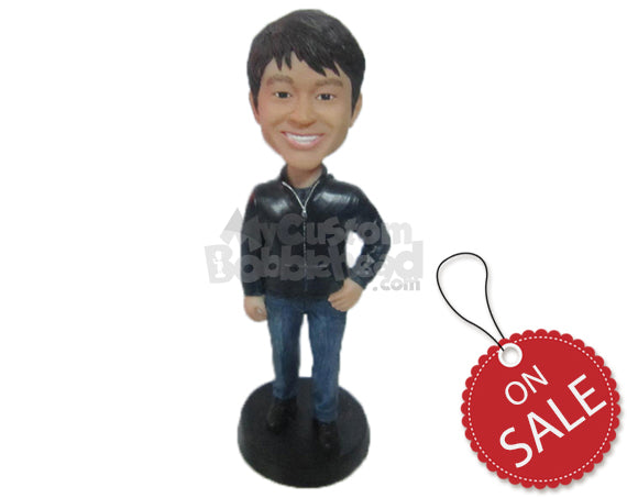 Custom Bobblehead Handsome Dude In Trendy Jacket - Leisure & Casual Casual Males Personalized Bobblehead & Cake Topper