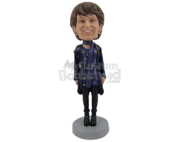 Custom Bobblehead Lovely Woman In Trendy Attire With A Boot And A Designer Scarf Around The Neck - Leisure & Casual Casual Females Personalized Bobblehead & Cake Topper