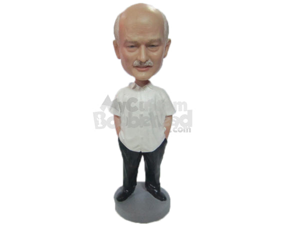 Custom Bobblehead Elegant Gentleman It Daily Ware With Hands In His Pocket - Leisure & Casual Casual Males Personalized Bobblehead & Cake Topper