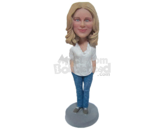 Custom Bobblehead Beautiful Lady In Trendy Top With Hands In Her Pocket - Leisure & Casual Casual Females Personalized Bobblehead & Cake Topper