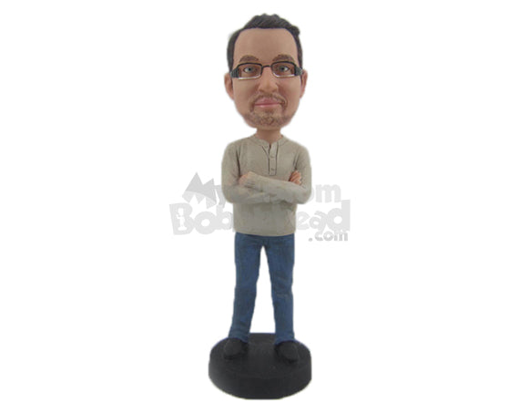 Custom Bobblehead Good Looking Guy With Folded Hands - Leisure & Casual Casual Males Personalized Bobblehead & Cake Topper