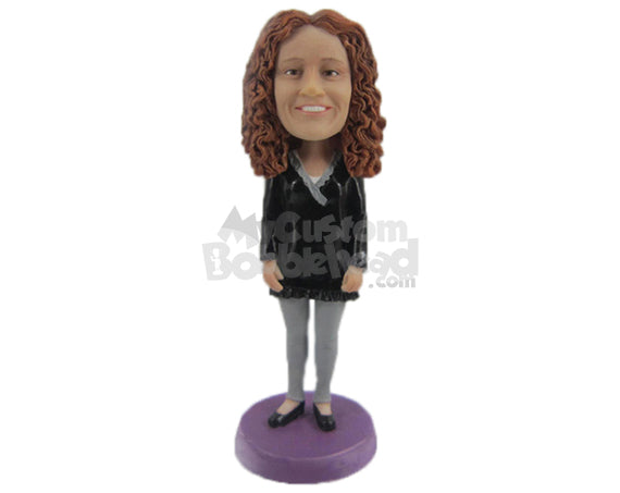 Custom Bobblehead Lovely Lady In A Beautiful Casual Top - Leisure & Casual Casual Females Personalized Bobblehead & Cake Topper