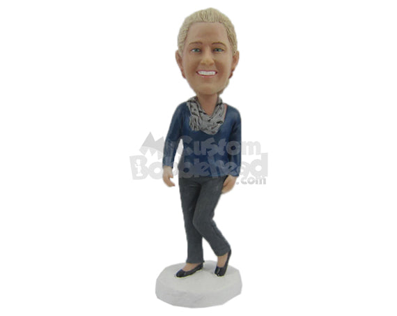 Custom Bobblehead Graceful Happy Woman In Casual With A Scarf - Leisure & Casual Casual Females Personalized Bobblehead & Cake Topper