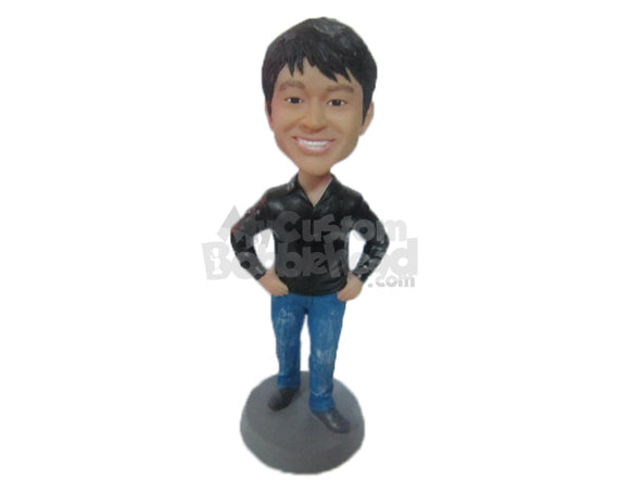 Custom Bobblehead Jazzy Guy With A Big Smile And Hands On His Waist - Leisure & Casual Casual Males Personalized Bobblehead & Cake Topper