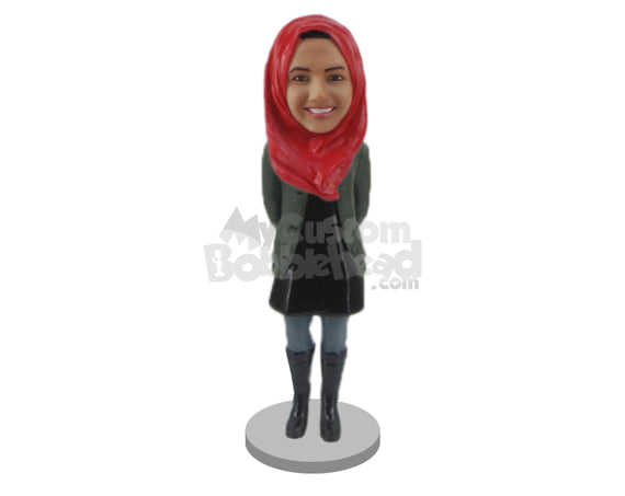 Custom Bobblehead Beautiful Girl In Long Boots - Leisure & Casual Casual Females Personalized Bobblehead & Cake Topper