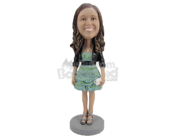Custom Bobblehead Beautiful Girl In Jacket With Stylish Necklace - Leisure & Casual Casual Females Personalized Bobblehead & Cake Topper