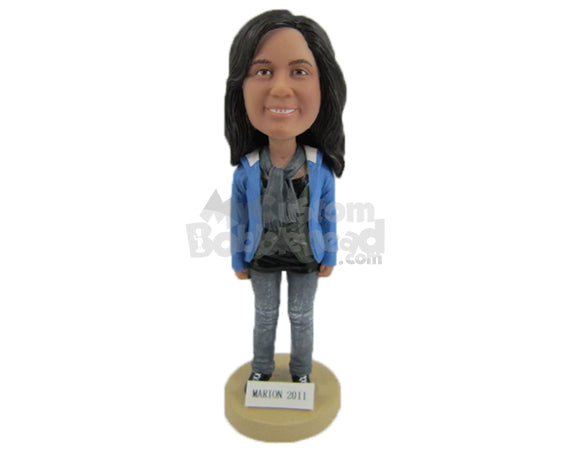 Custom Bobblehead Beautiful Girl In Trendy Clothes With Scarf Around Her Neck - Leisure & Casual Casual Females Personalized Bobblehead & Cake Topper