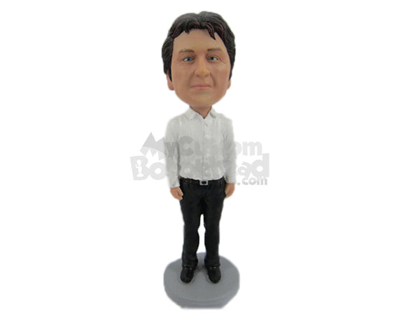 Custom Bobblehead Handsome Neat Gentleman Rocking With Ever Green Style - Leisure & Casual Casual Males Personalized Bobblehead & Cake Topper
