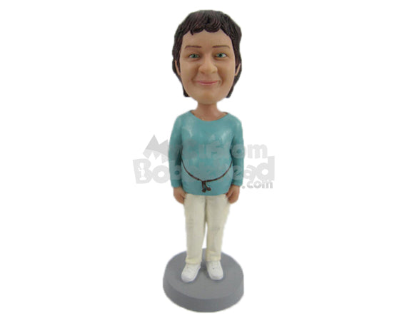 Custom Bobblehead Lovely Woman In Comfortable Daily Clothes - Leisure & Casual Casual Females Personalized Bobblehead & Cake Topper