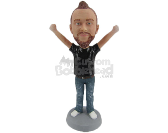 Custom Bobblehead Happy Lady In Casual Outfit With Arms Wide Open - Leisure & Casual Casual Males Personalized Bobblehead & Cake Topper