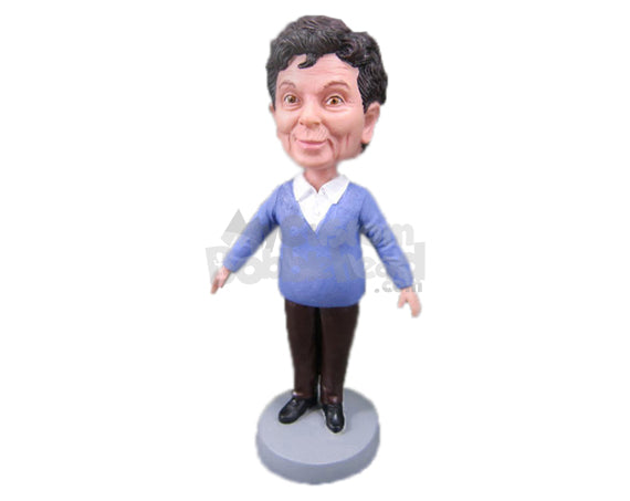 Custom Bobblehead Woman In Comfortable Clothes - Leisure & Casual Casual Females Personalized Bobblehead & Cake Topper