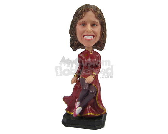 Custom Bobblehead Charming Lady Smiling In Long Gown Dress - Leisure & Casual Casual Females Personalized Bobblehead & Cake Topper