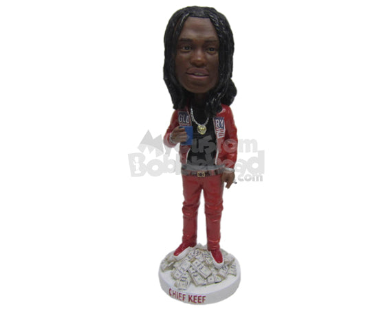 Custom Bobblehead Uber Cool Dude Dripping In Finesse With Shiny Locket And Load Of Money - Leisure & Casual Casual Males Personalized Bobblehead & Cake Topper