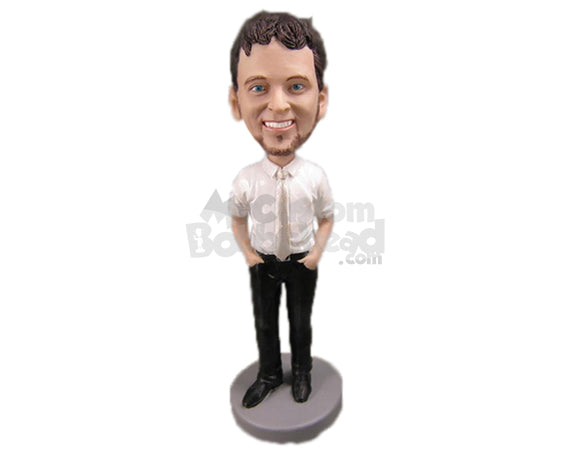Custom Bobblehead Handsome Man With Perfect Slim Fit Attire - Leisure & Casual Casual Males Personalized Bobblehead & Cake Topper