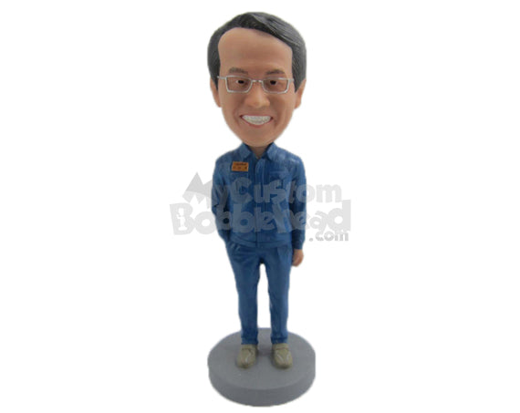 Custom Bobblehead Happy Guy In Classic Dress With One Hand In Pocket - Leisure & Casual Casual Males Personalized Bobblehead & Cake Topper