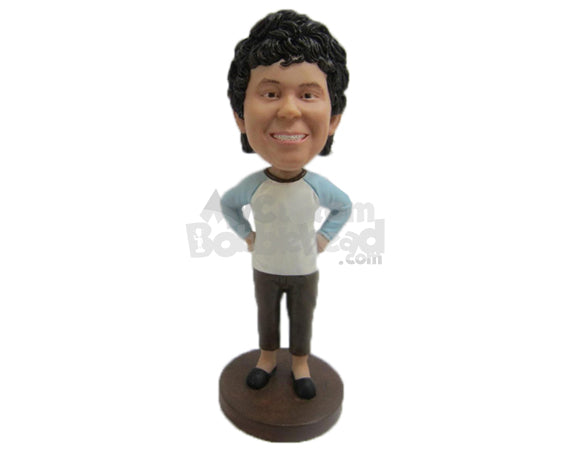 Custom Bobblehead Cool Guy In Comfortable Daily Clothes With Hands On His Waist - Leisure & Casual Casual Males Personalized Bobblehead & Cake Topper