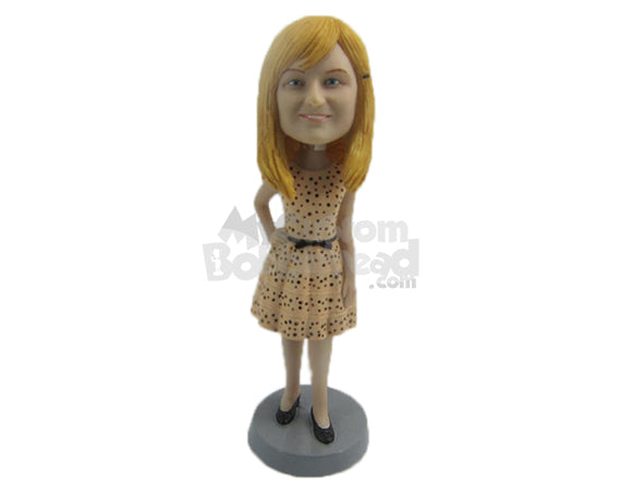 Custom Bobblehead Beautiful Sweet Lady In Stylish Printed Frok - Leisure & Casual Casual Females Personalized Bobblehead & Cake Topper