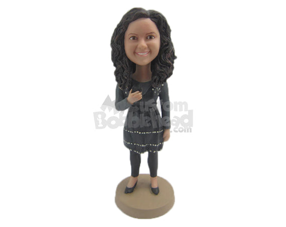 Custom Bobblehead Cute Girl In Trendy Designer Clothes - Leisure & Casual Casual Females Personalized Bobblehead & Cake Topper