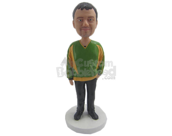 Custom Bobblehead Good Looking Male In Comfortable Loose Attire - Leisure & Casual Casual Males Personalized Bobblehead & Cake Topper