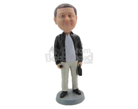 Custom Bobblehead Handsome Gentleman In Jacket With Bag And Mobile In Hand - Leisure & Casual Casual Males Personalized Bobblehead & Cake Topper