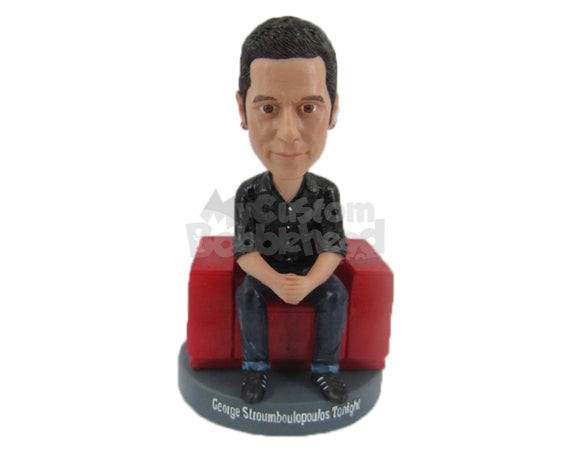 Custom Bobblehead Handsome Male Sittin Gon A Sofa With Hands Joined - Leisure & Casual Casual Males Personalized Bobblehead & Cake Topper