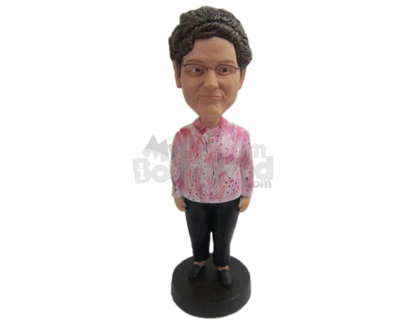 Custom Bobblehead Lovely Lady In Printed Shirt - Leisure & Casual Casual Females Personalized Bobblehead & Cake Topper