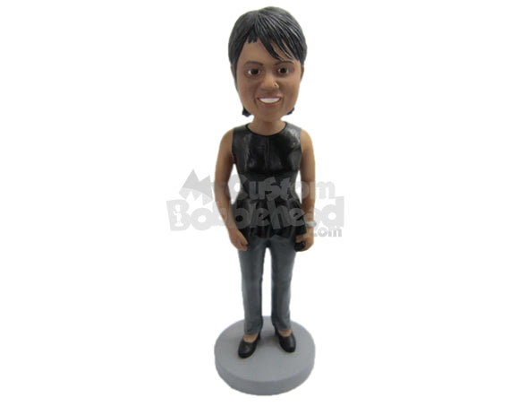 Custom Bobblehead Bold And Beautiful Woman In Sleeveless Top With Bag In Hand - Leisure & Casual Casual Females Personalized Bobblehead & Cake Topper