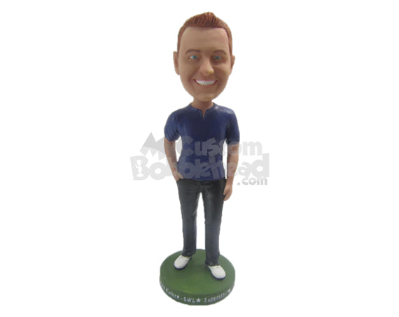 Custom Bobblehead Dashing Handsome In Stylish Dress With Hand In Pocket - Leisure & Casual Casual Males Personalized Bobblehead & Cake Topper