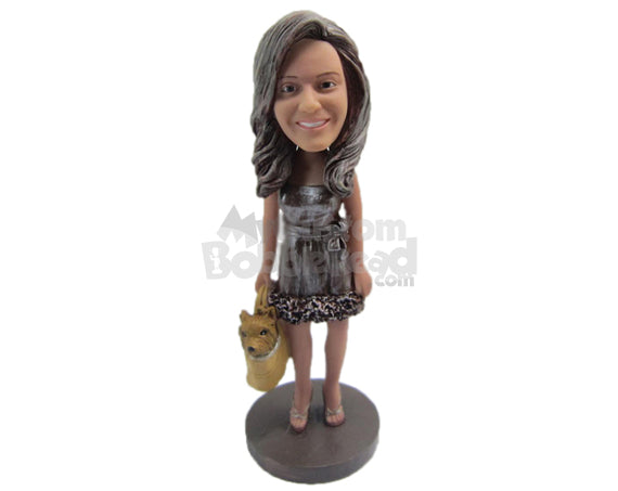 Custom Bobblehead Gorgeous Girl In Dazzling Dress With A Dogface Bag - Leisure & Casual Casual Females Personalized Bobblehead & Cake Topper
