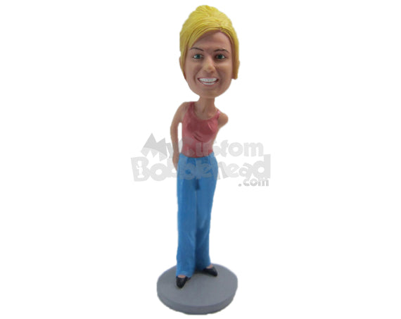 Custom Bobblehead Beautiful Girl With A Smile In A Stylish Sleeveless Top - Leisure & Casual Casual Females Personalized Bobblehead & Cake Topper