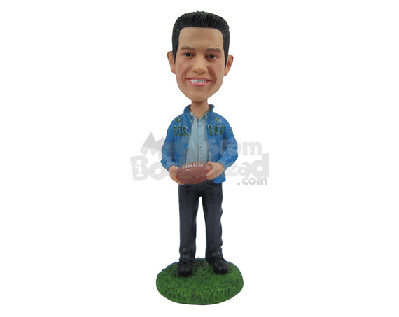 Custom Bobblehead Good Looking Male Wearing His Favourite Team Jacket Holding A Football - Leisure & Casual Casual Males Personalized Bobblehead & Cake Topper