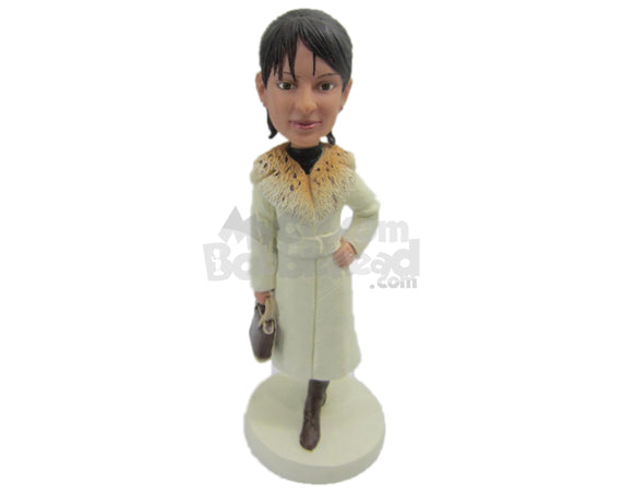 Custom Bobblehead Beautiful Lady In Trendy Overcoat - Leisure & Casual Casual Females Personalized Bobblehead & Cake Topper
