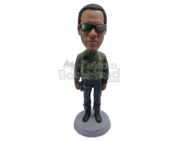 Custom Bobblehead Uber Cool Dude With A Stylish Jacket - Leisure & Casual Casual Males Personalized Bobblehead & Cake Topper